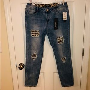 Bebe jeans with leopard print openings